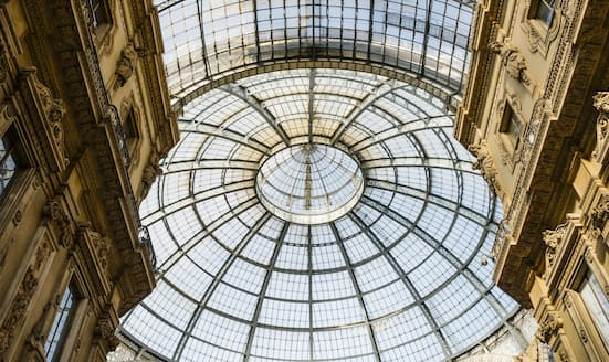 View looking up at the dome in Galleria Vittorio Emanuele II in Milan