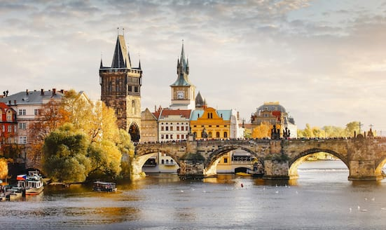 The spires and the Charles Bridge of Prague as seen from the Vltava River