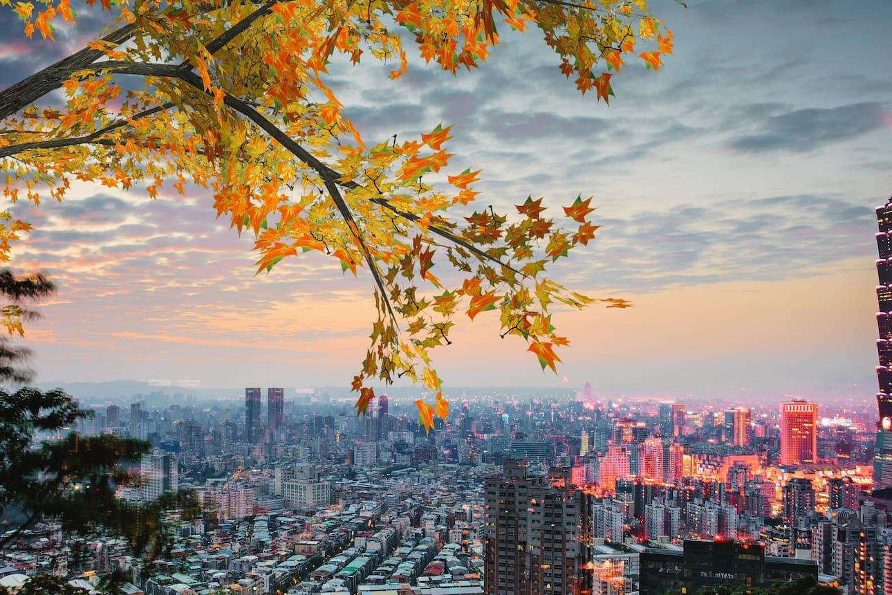 View over Taipei city skyline at sunset