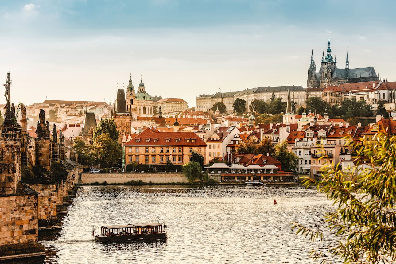 View across the river towards Prague cathedral