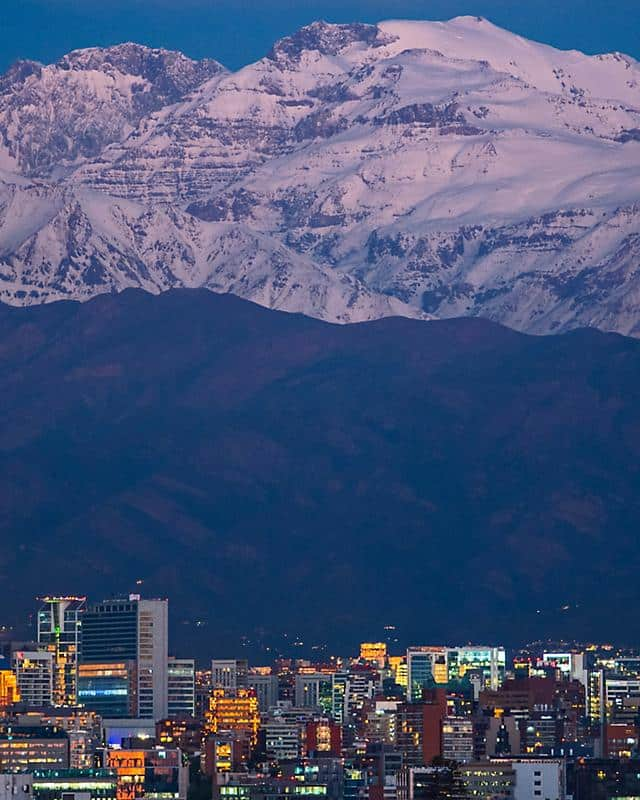 santiago city view with mountain