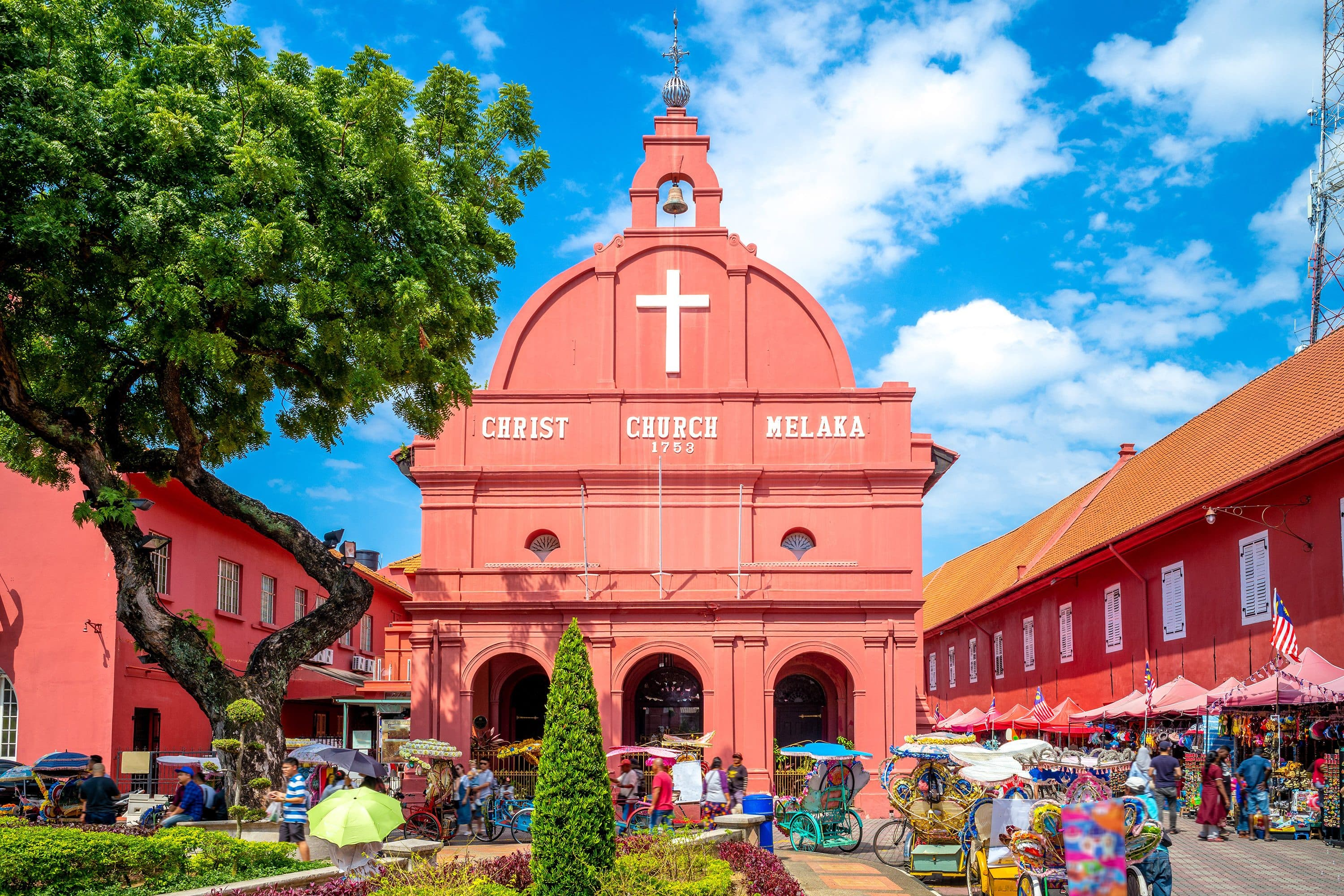 Church and market in Malaka