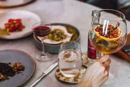 Food and cocktails on a table