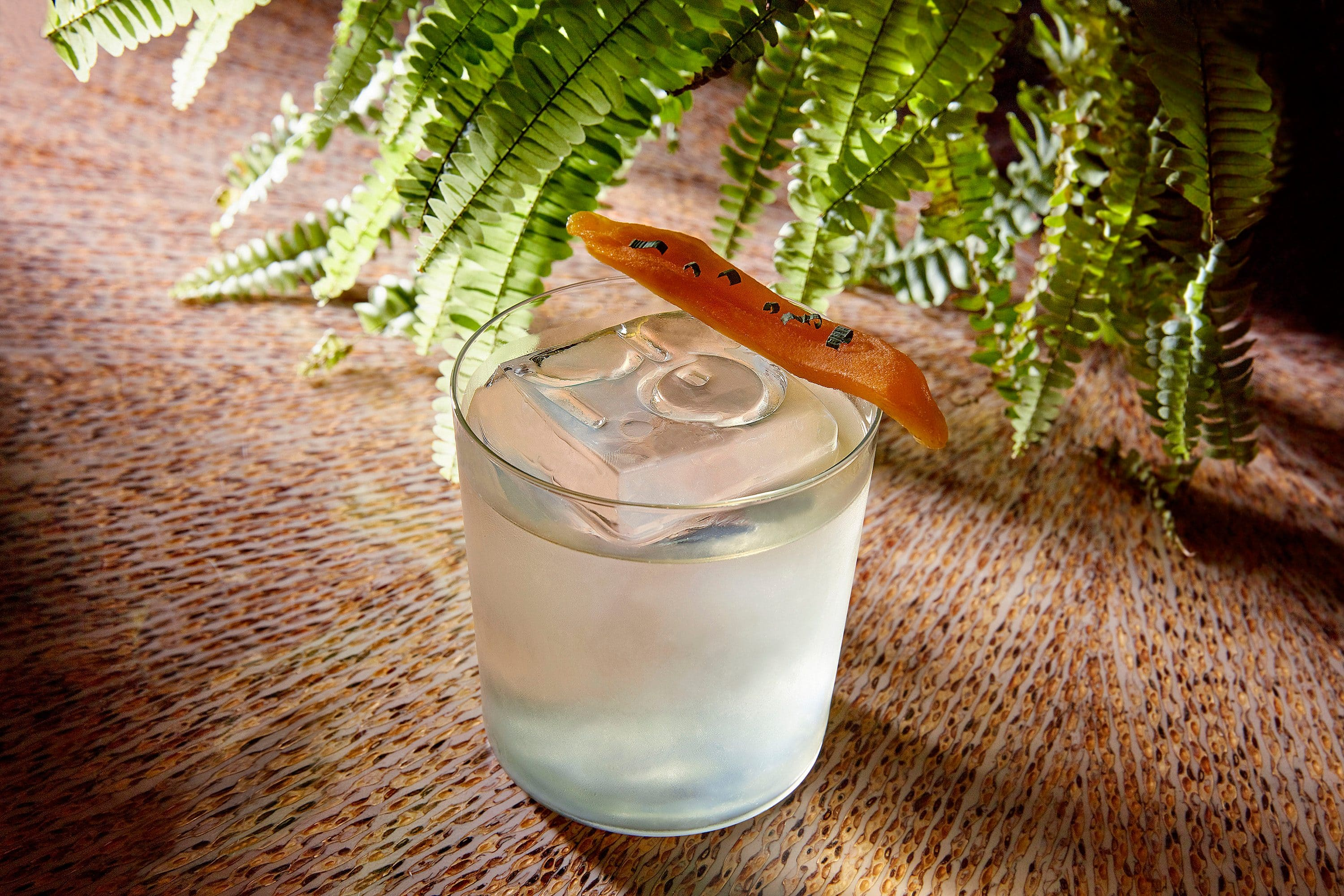 The Oriental cocktail finished with dehydrated mango