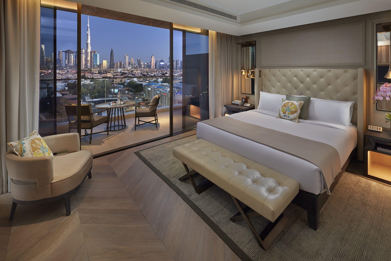 Twinkling city views from a hotel room at Mandarin Oriental Jumeira, Dubai
