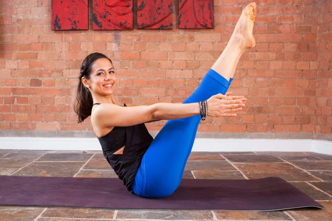 Celest Pereira practising yoga