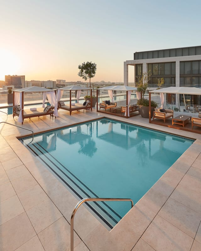 roof top pool at sunset