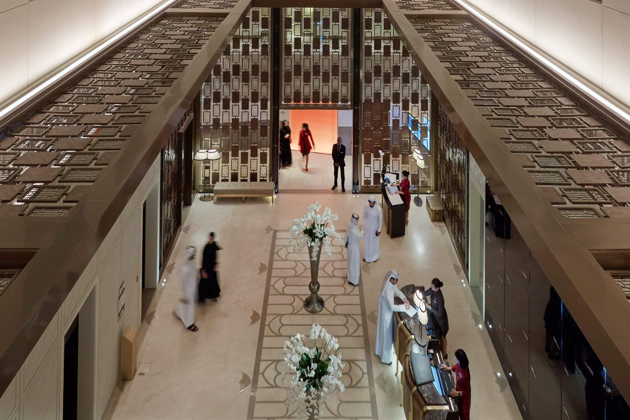 hotel lobby with guests