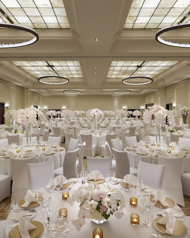 ballroom set for a wedding