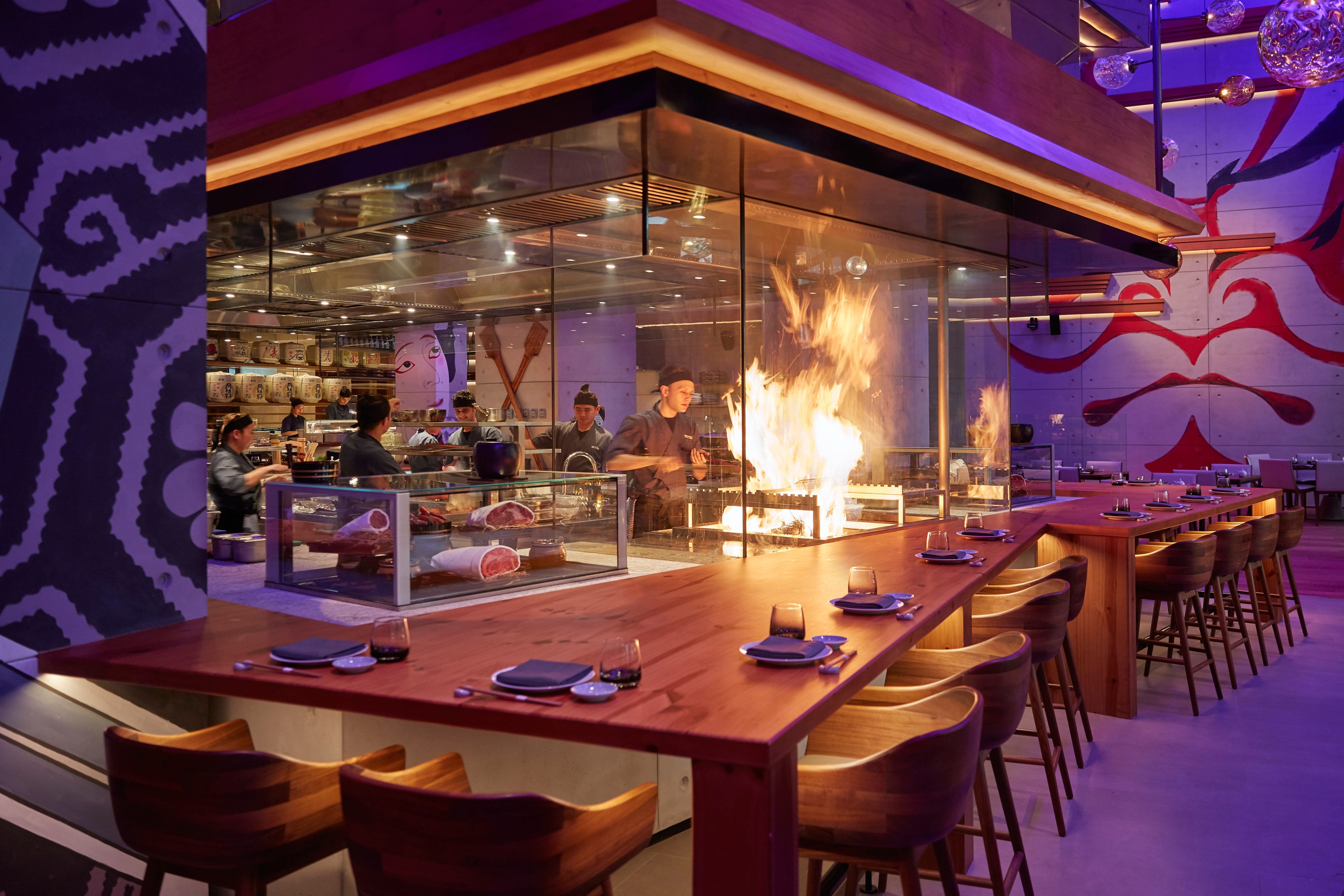open kitchen with flames