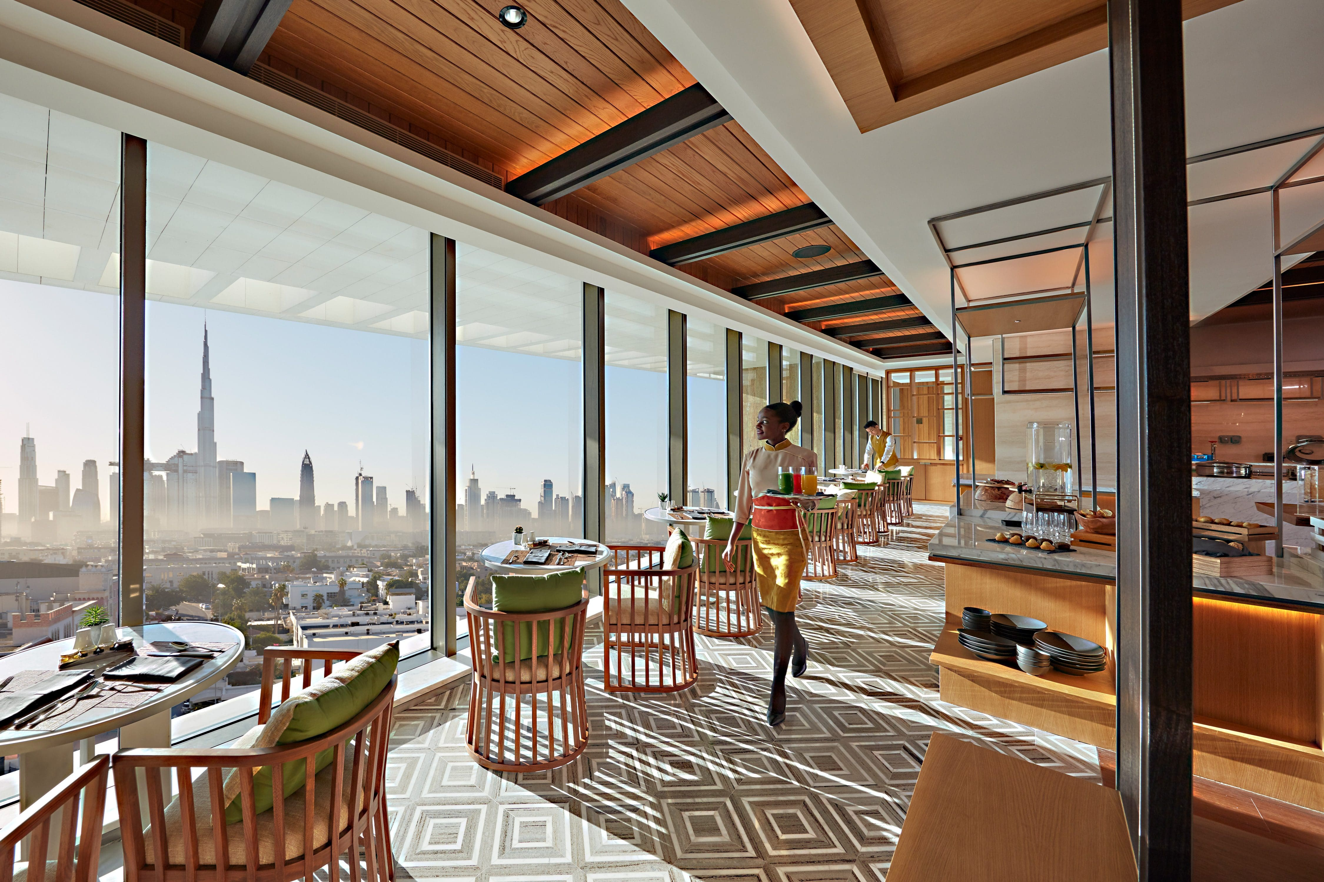 View from inside the Club Lounge through the floor-to-ceilings windows towards Downtown Dubai
