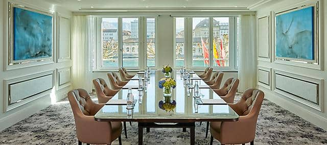 meeting room with full river view at mandarin orientla, geneva