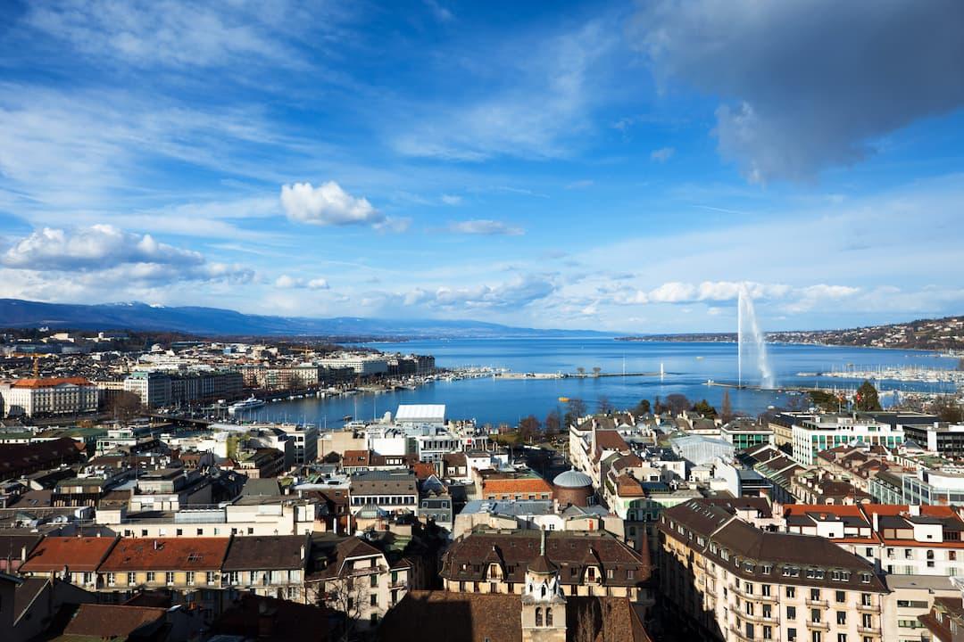 View of Geneva and lake
