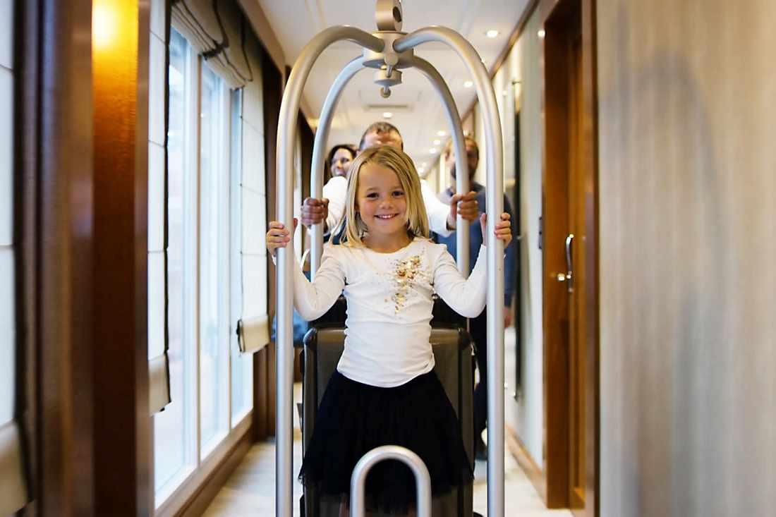 younger fan having fun in the corridor