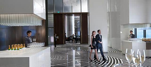 event entrance great hall with glasses and champagne at mandarin oriental, guangzhou