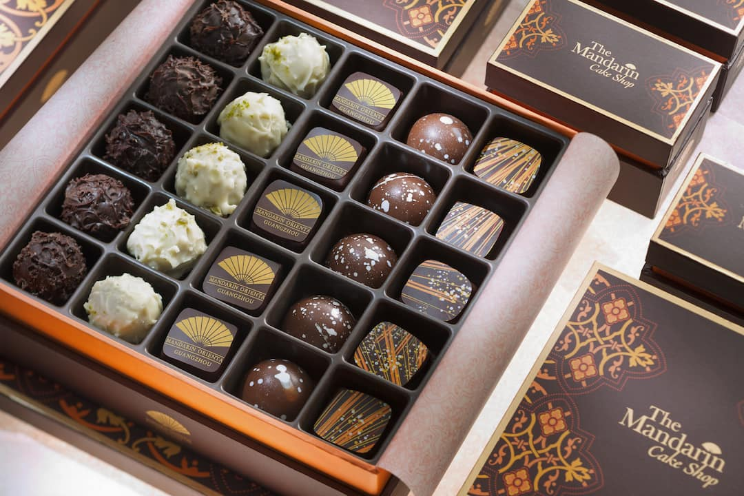 a box of chocolate from cake shop at mandarin oriental, guangzhou