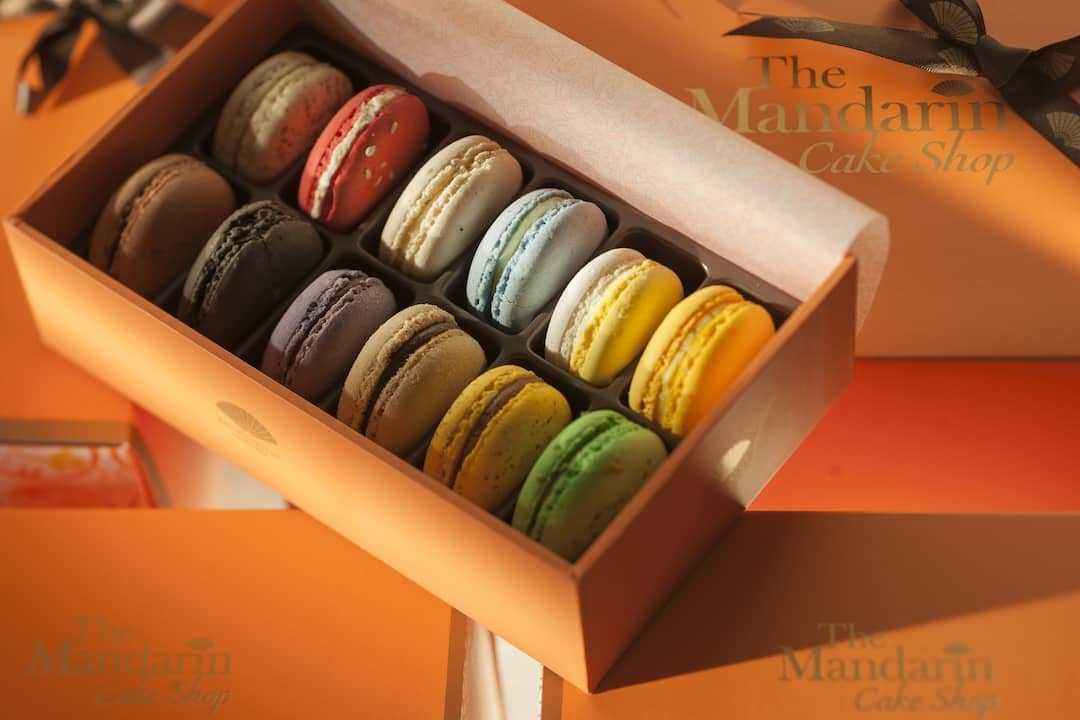 a box of macaroons from cake shop at mandarin oriental, guangzhou