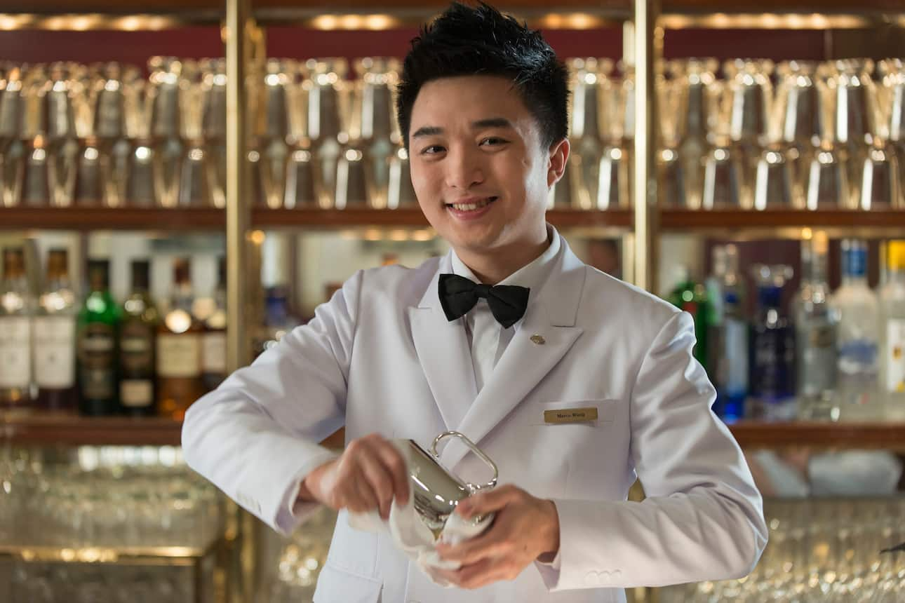 Bartender smiling