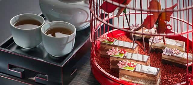 tea set with bird cage from mandarin oriental