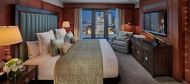 bedroom of tamar suite at mandarin oriental, hong kong