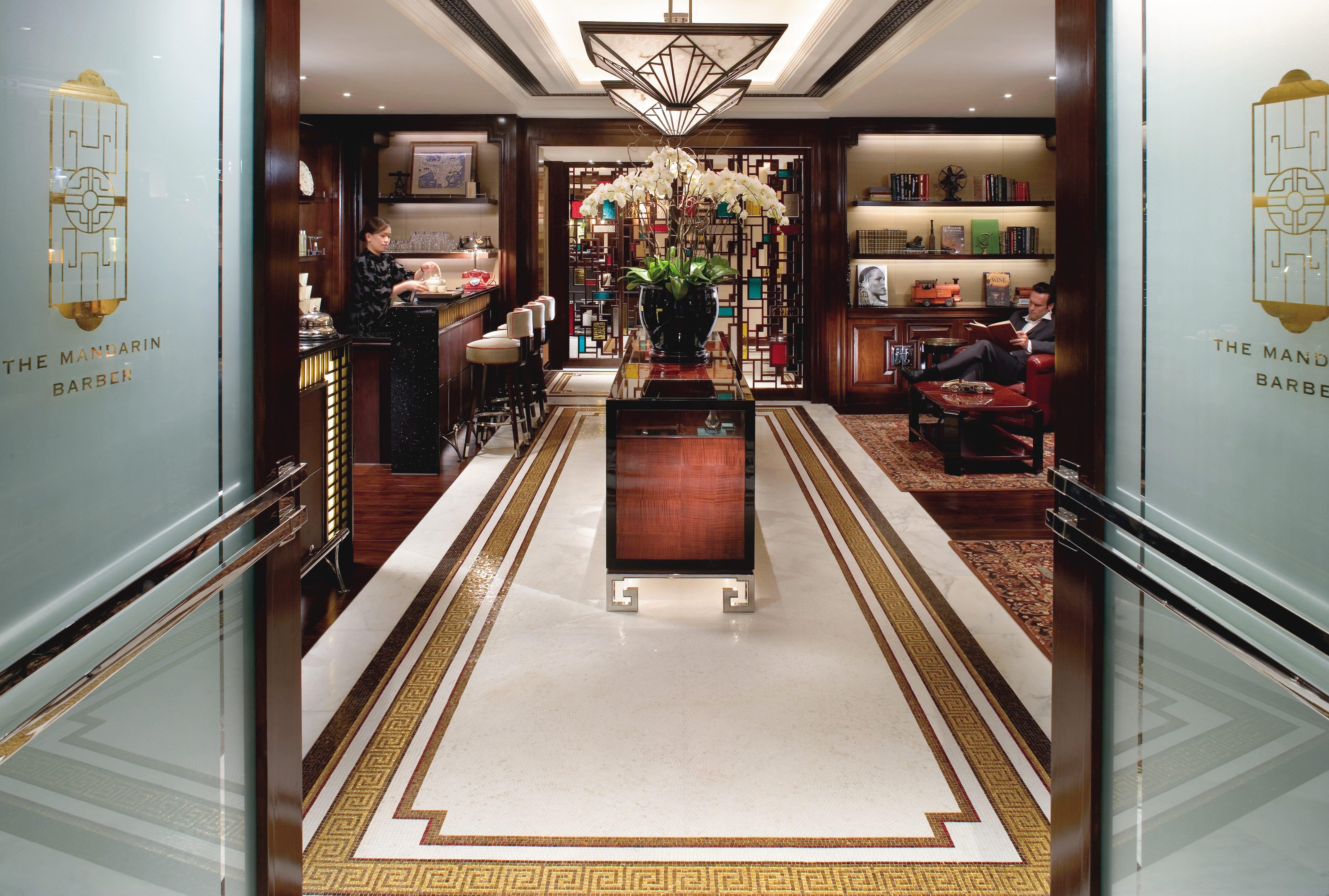 Entrance to the barber shop at Mandarin Oriental, Hong Kong
