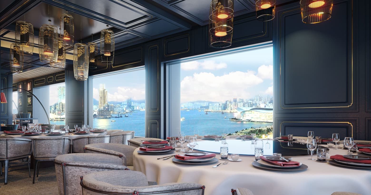 man wah interior with harbour view
