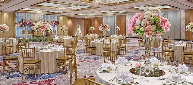 ballroom wiht wedding setting at mandarin oriental, jakarta