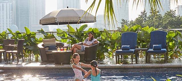 kids in pool at mandarin oriental, kuala lumpur