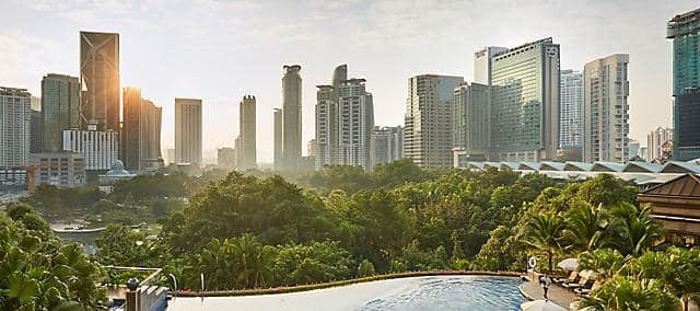 Overlooking the pool and Kuala Lumpur skyline in the morning