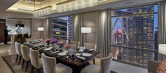 presidential suite, dining room at mandarin oriental, kuala lumpur