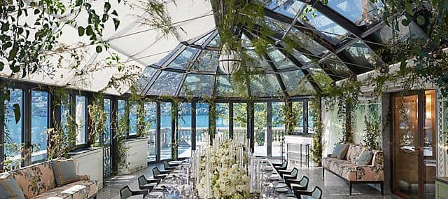 overlooking lake como in greenhouse table setup