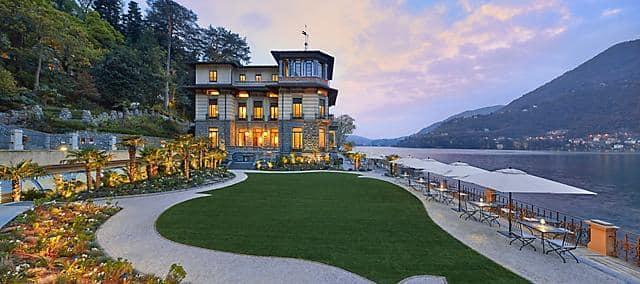 hotel exterior in evening