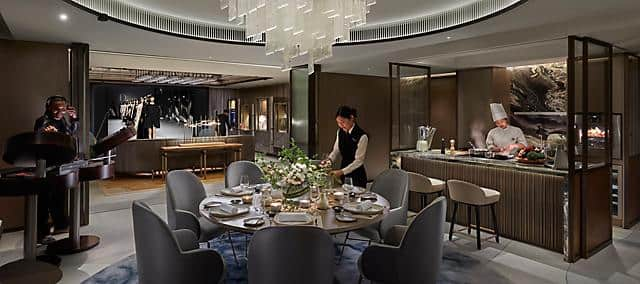 entertainment suite, dining room at the landmark mandarin oriental, hong kong