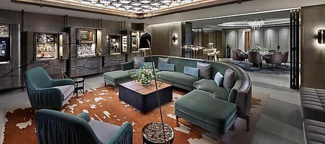 entertainment suite, living room at the landmark mandarin oriental, hong kong