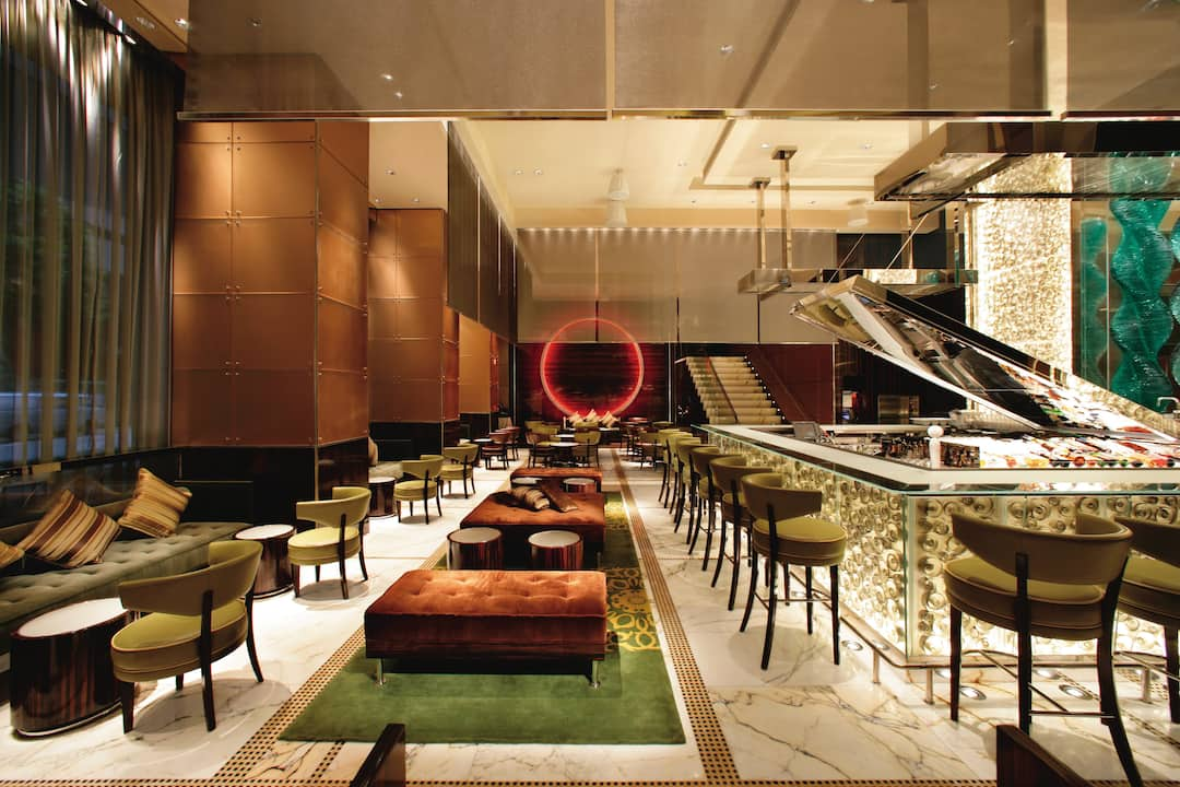 interior of mo bar at the landmark mandarin oriental, hong kong