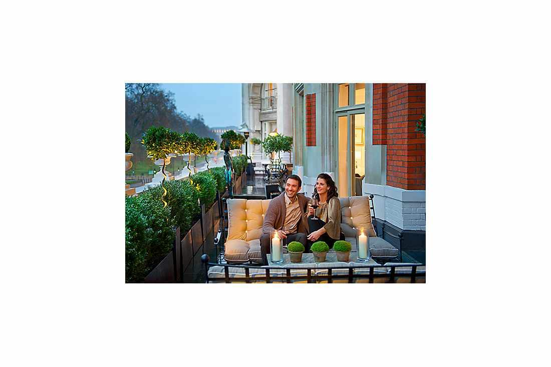 couple sitting outside the terrace