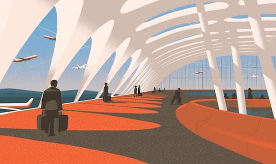 Illustration of travellers walking through an airport