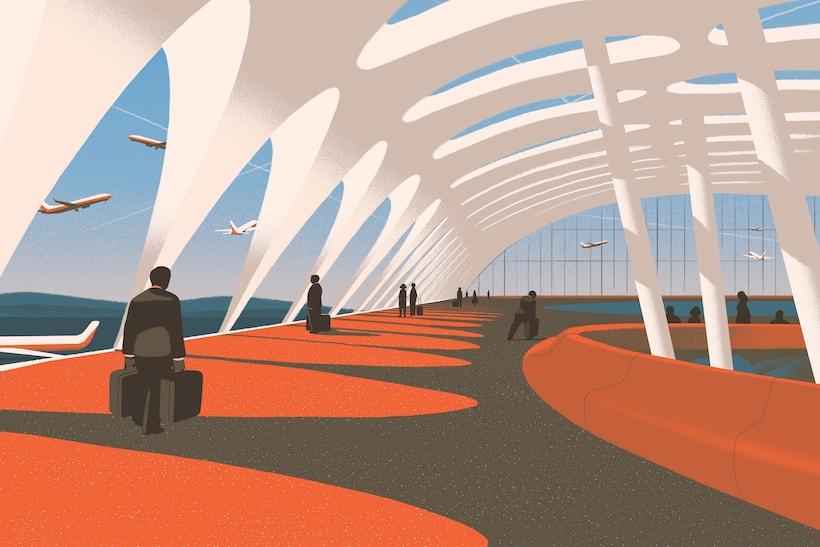 Ilustração de viajantes caminhando por um aeroporto