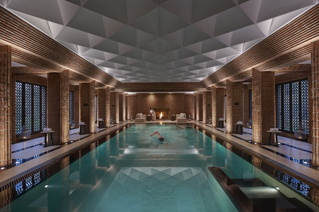 Spa pool at dusk at Mandarin Oriental, Marrakech