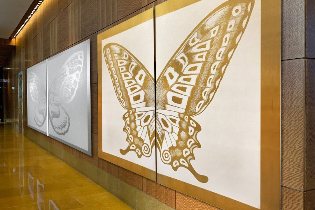 Diptych Butterfly III, Silver on White