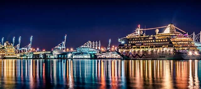 Night view of a luxury Cruise by the bay and ocean