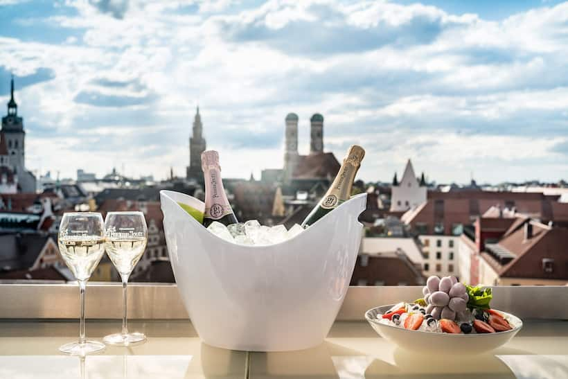 overlooking munich from terrace with champagne
