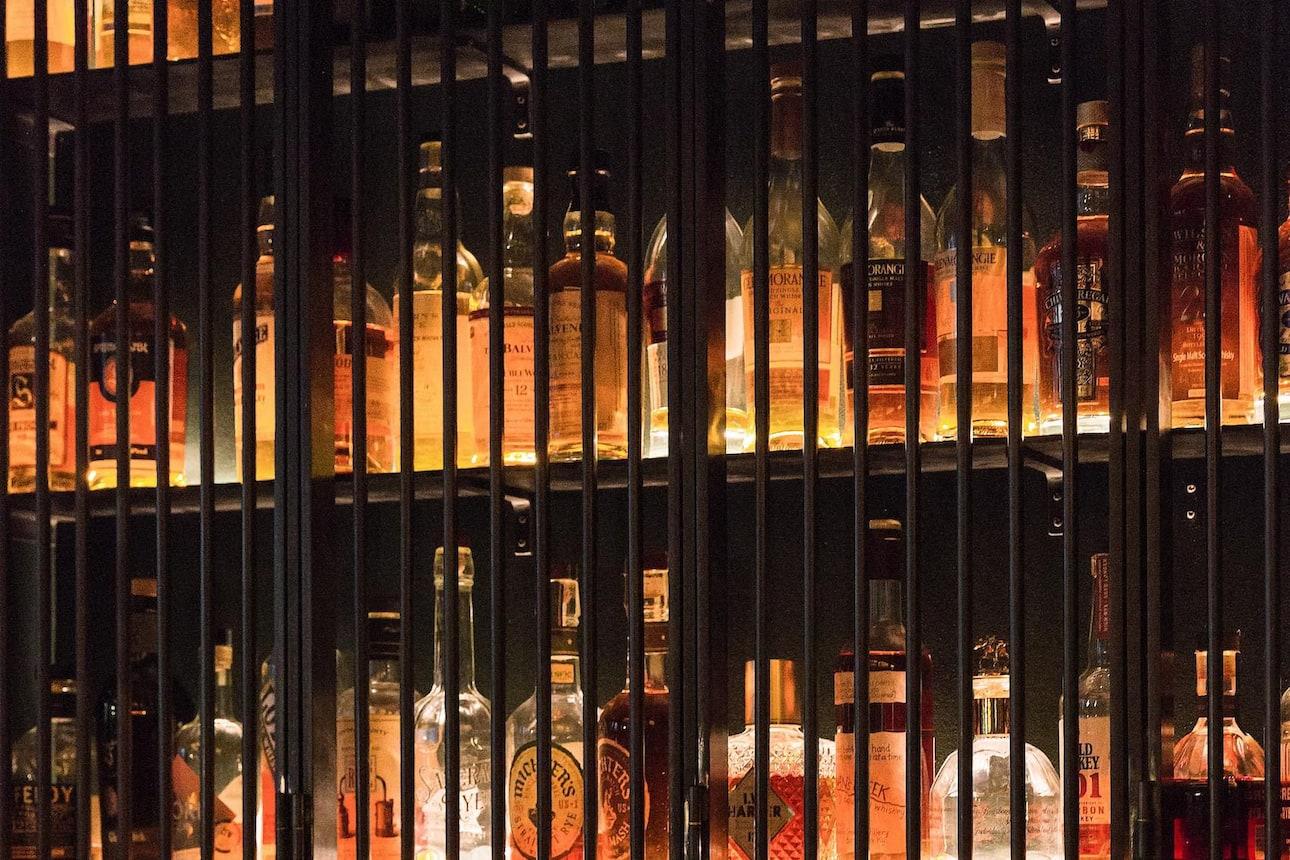 whisky bottles in display