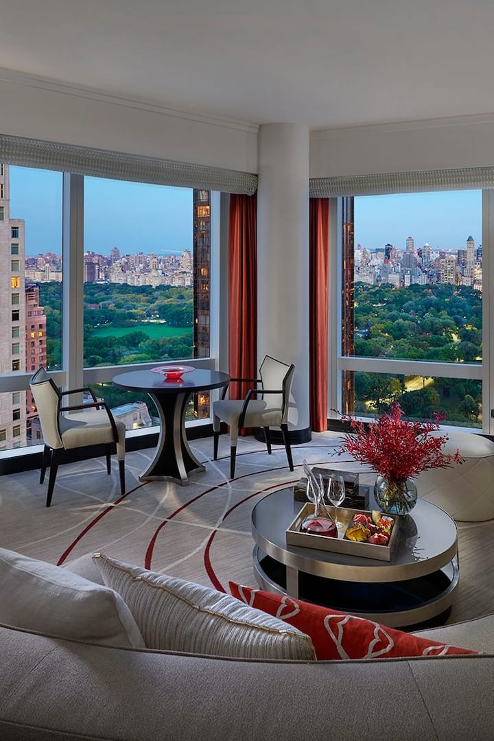 central park suite living room with views