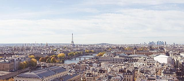 The streets of Paris and the Eiffel Tower