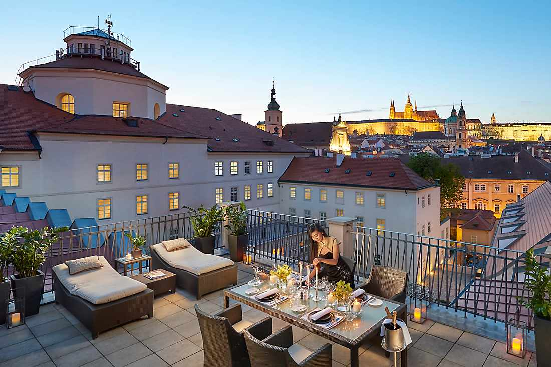 presidential suite terrace at dusk