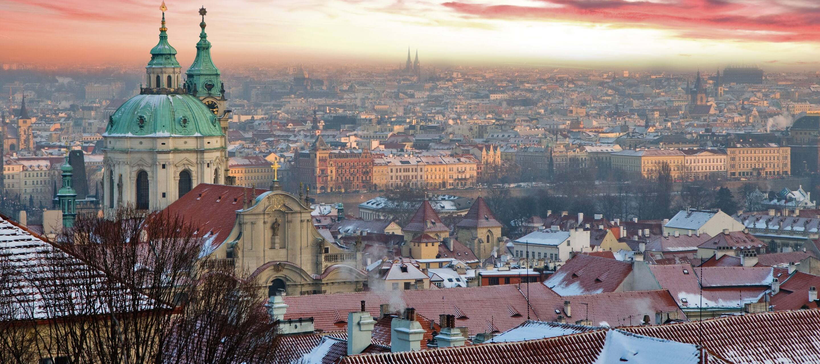 The city of Prague with pink sky