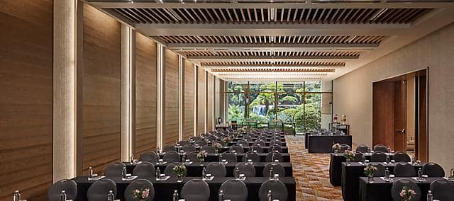 Meeting room overlooking property gardens