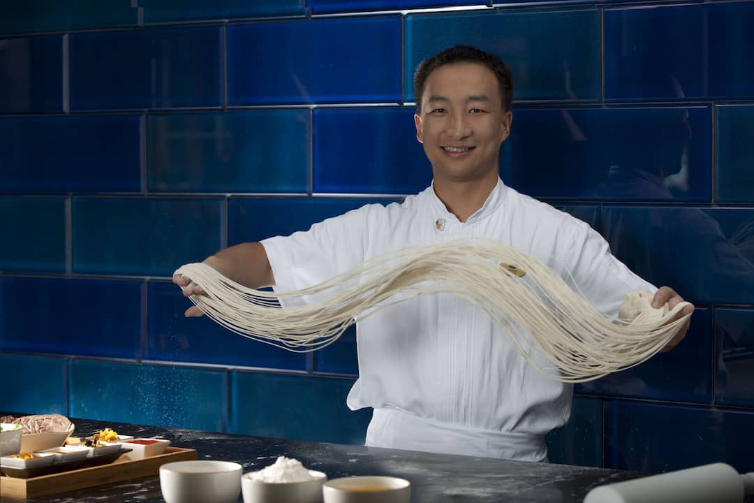 chef making noodle at mandarin oriental, sanya