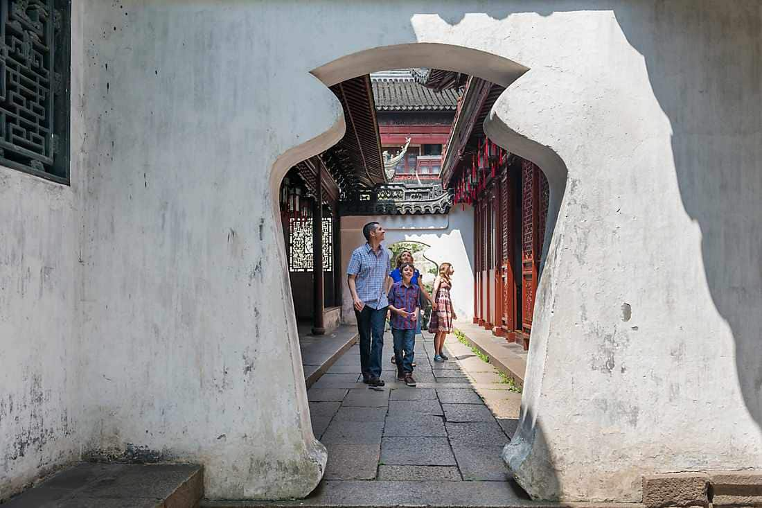 family exploring shanghai